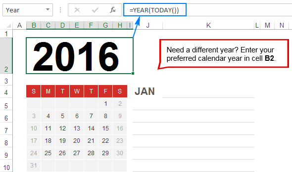 for your excel calendar to always displays the current year use this formula
