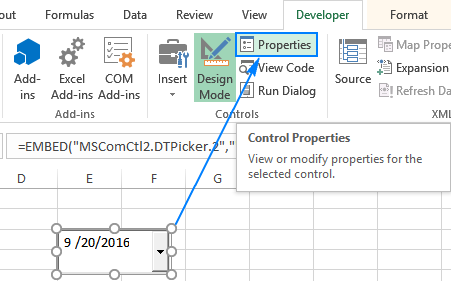 To customize the calendar control, click Properties.