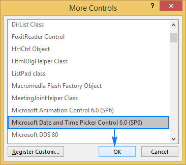 Select Microsoft Date and Time Picker Control