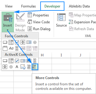 To insert a calendar, click the More Controls button under ActiveX Controls.