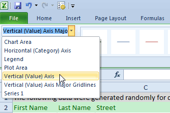Excel charts -  Vertical(value) Axis