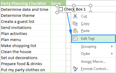 Insert checkbox in Excel: create interactive checklist or to