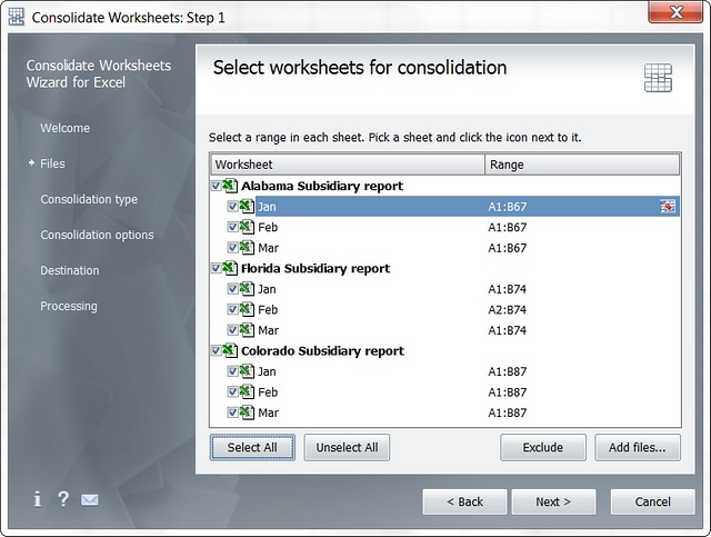 Select the worksheets you need to combine