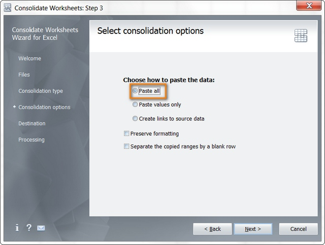 Specify how to paste data from the same name sheets to the destination workbook