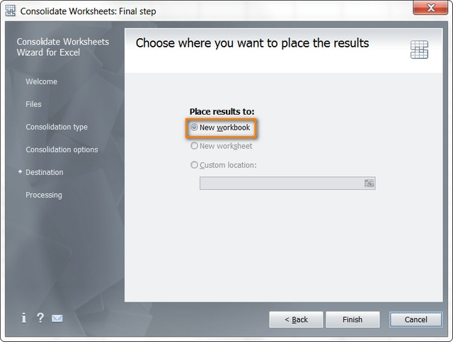 Choose the destination workbook
