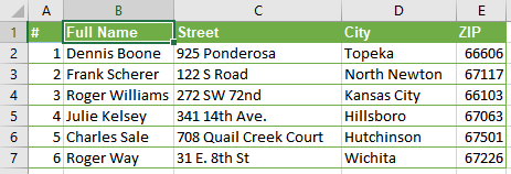 Excel: Merged data from two columns