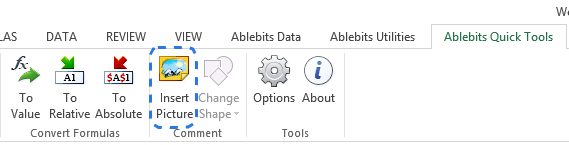Click on the Insert Picture command on the Ablebits Quick Tools tab to add an image to a comment
