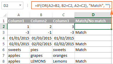 Finding matches in any two cells in the same row