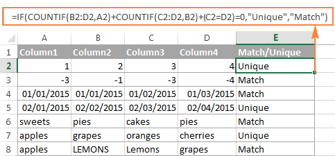 Compare several columns and find matches in any two cells in the same row.
