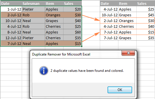 Duplicate rows are highlighted.