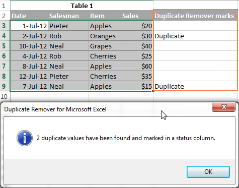 Duplicate rows are marked.