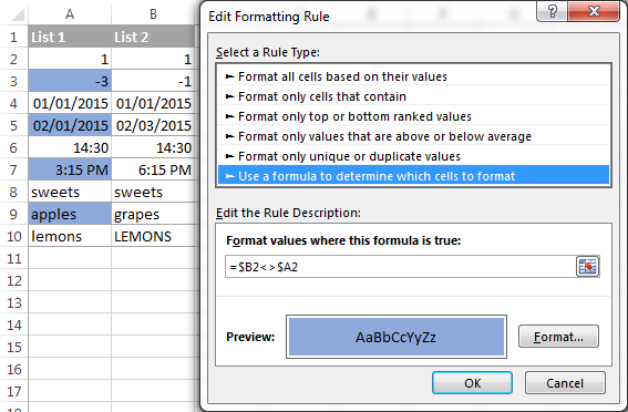 A conditional formatting rule to highlight differences in each row