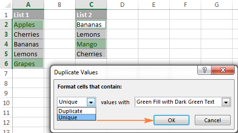 Built-in rule to compare 2 lists and highlight duplicate or unique values