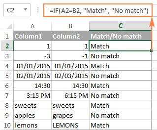 A formula to compare 2 columns for matches and differences in each row