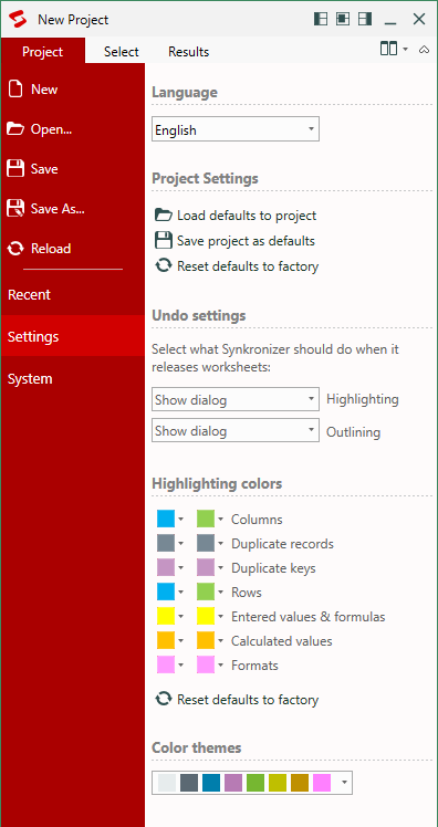Configure the project settings