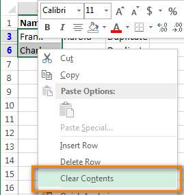 Excel - clear contents