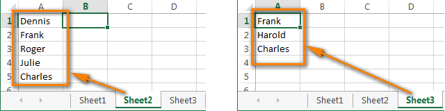 Two columns are located on different sheets