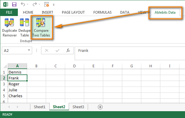 Worksheet Excel 2010 Compare Worksheets compare two columns and remove duplicates in excel click the tables button to start wizard