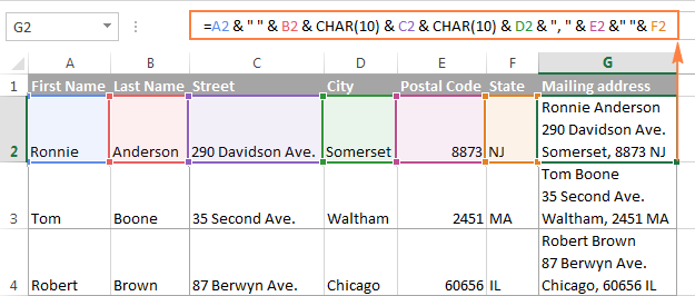 """Excel CONCATENATE function and """"&"""" to combine strings, cells, columns"""