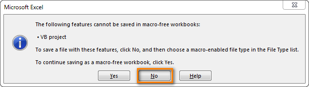 The following features cannot be saved in macro-free Workbook : VB project