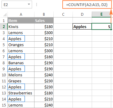 Using the COUNTIF function in Excel