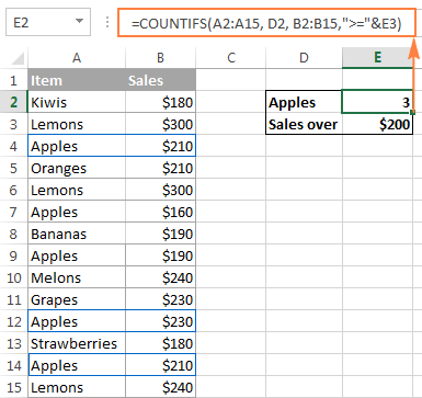 Using the Excel COUNTIFS function to count cells that meet several criteria