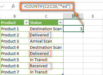 Excel COUNTIF formula to count cells that end with certain text
