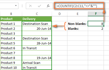 Excel COUNTIF formula to count non-blank cells