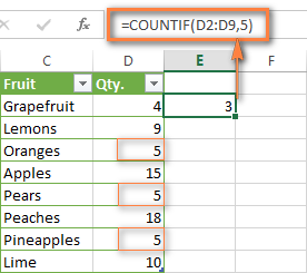 Excel COUNTIF formula for numbers