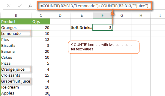 A COUNTIF function to count cells with 2 different text values.