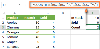 Counting cells with multiple criteria based on AND logic