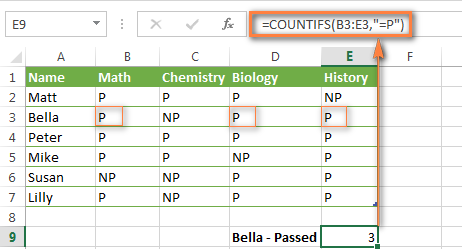 The COUNTIFS formula to count cells with text values in a single range