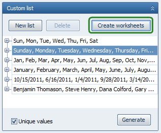 Add worksheets named as the custom list values in one click