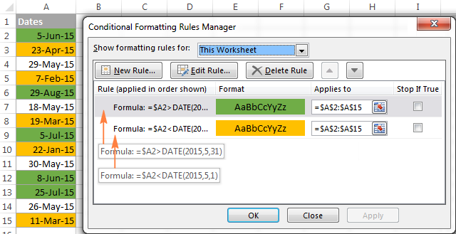 Using Excel DATE formulas in conditional formatting