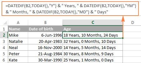 DATEDIF formula to calculate age in Excel