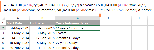 Calculate date difference is days, months and years ignoring zero values