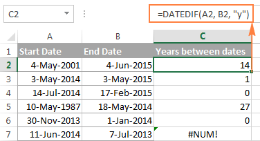 DATEDIF function to calculate complete years between two dates