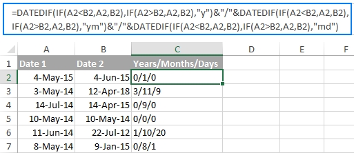 Difference between two dates in years, months and days