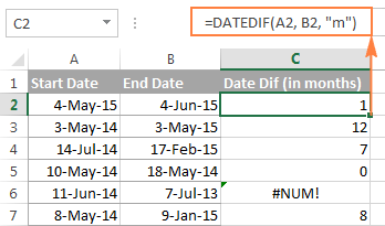 DATEDIF formula to calculate months between two dates