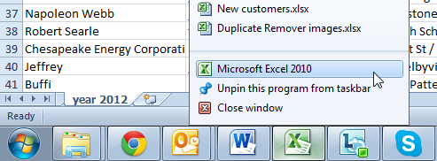 Open a new window with Excel using the taskbar icon