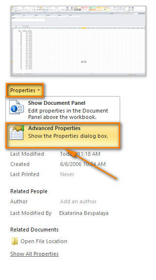 Choose 'Advanced Properties' from the properties drop-down menu to open the properties dialog window