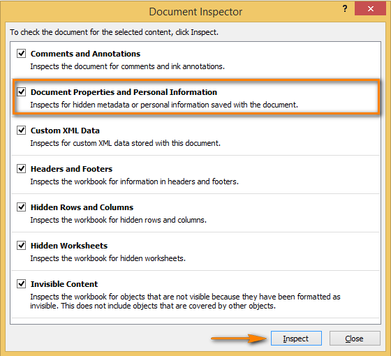 Select the issues that you want to check in the Document Inspector window