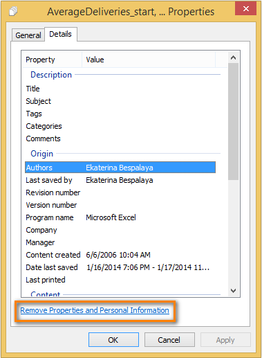 Click on 'Remove Properties and Personal Information' to open the Remove Properties dialog window