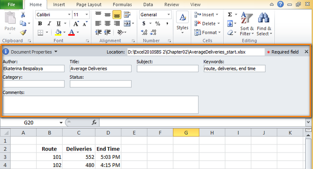 How To View Change Remove Excel 2016 2010 Document Properties. The Document Panel Is Placed Between Ribbon And Working Area. Worksheet. Property Division Worksheet Excel At Clickcart.co