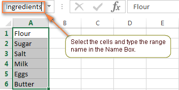 The fastest way to create a named range in Excel.