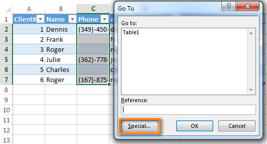 Click the Special button in the Go To dialog