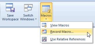 Choose the Record Macro from the Macros drop-down list