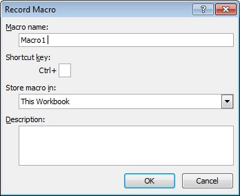 Excel Record Macro window