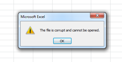 The file is corrupt and cannot be opened in Excel 2010
