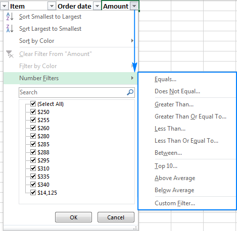 Number Filters in Excel